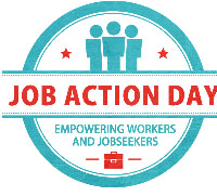 Job Action Day Badge-Blue